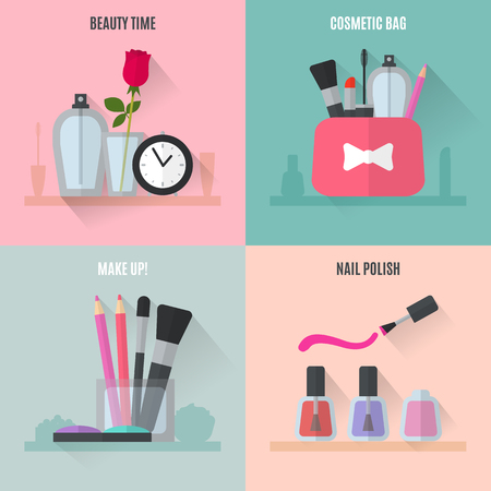 beauty make up: Make up flat icons. Square composition banners. Vector illustration for cosmetic design. Beauty style isolated on retro background. Make-up artist objects. Makeup accessories for pretty woman.