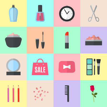 beauty products: Make up flat icons. Vector illustration for cosmetic design. Beauty style isolated on colorful background. Make-up artist objects. Makeup accessories for pretty woman. Bright colors.