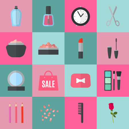makeup artist: Make up flat icons. Vector illustration for cosmetic design. Beauty style isolated on retro chic background. Make-up artist objects. Makeup accessories for pretty woman. Bright colors.