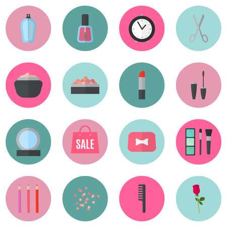Make up flat icons. Vector illustration for cosmetic design. Beauty style isolated on retro chic background. Make-up artist objects. Makeup accessories for pretty woman. Bright colors.