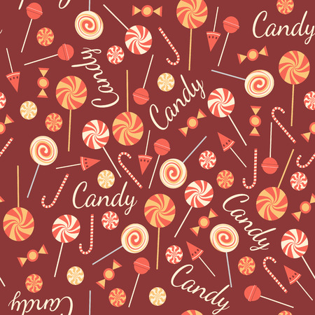 yummy: Seamless pattern with sweet candies isolated on chocolate background. Tasty lollipops. Yummy candies of different kinds.  Background with mix of caramels. Assorty of bonbons. Vector design