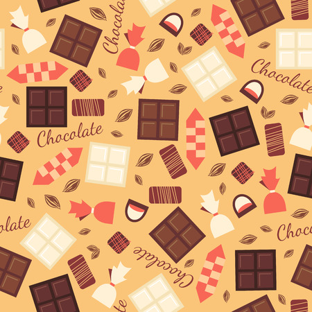 white bars: Seamless pattern with chocolate sweets isolated on beige background. White, black, milk chocolate bars and candies of different types. Yummy delicious sweets. Cacao products. Vector design.