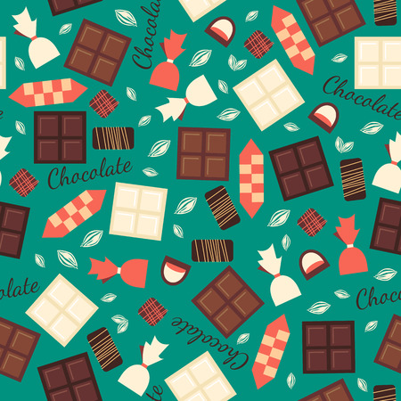 used items: Seamless pattern with chocolate sweets isolated on green background. White, milk and black chocolate bars and candies. Tasty gourmet items. Can be used for wallpaper and wrapping paper.