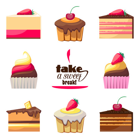 take a break: Set of eight delicious biscuits. Yummy cupcakes, donuts and muffins. Can be used for a dessert menu. Collection of bakery products. Take a sweet break. Have a snack. Assorted confectionery. Vector Illustration