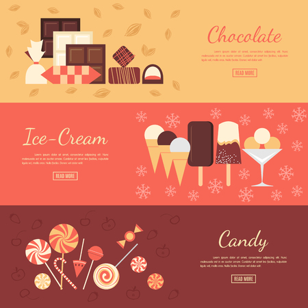 product background: Horizontal banner set with chocolate sweets, ice cream and candies. Elements isolated on separate background. Advertising dessert booklet. Restaurant visit card. Candy shop poster.