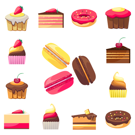 fifteen: Set of fifteen delicious desserts. Can be used for a dessert menu. Assorted confectionery.Yummy cupcakes, donuts and muffins. Have a snack. Tasty sweets. Collection of bakery products.