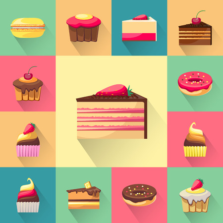 cupcakes isolated: Confectionery set of isolated cakes icons with shadows. Tasty cupcakes. Delicious snack food. Yummy realistic desserts. Every icon can be easily used separately. Fresh bakery.