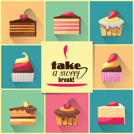 break in: Collection of sweet biscuits with shadows. Take a sweat break. Illustration of menu in cafe. Delicious snack food. Yummy realistic desserts. Every icon can be easily used separately.