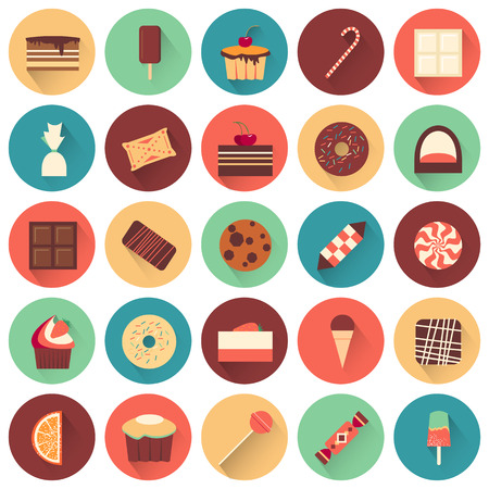 chocolate cake: Dessert icon set. Collection of tasty sweets. Yummy delicious cakes. White and black chocolate.  Confectionery buiscuits. Every icon can be used separately. Food. Vector design illustration. Illustration
