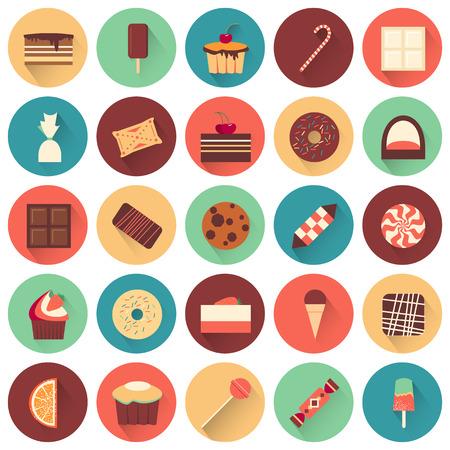 blanco: Postre establecido icono. Colección de sabrosos dulces. deliciosos pasteles deliciosos. chocolate blanco y negro. buiscuits confitería. Cada icono se puede utilizar por separado. Comida. Vector ilustración de diseño.