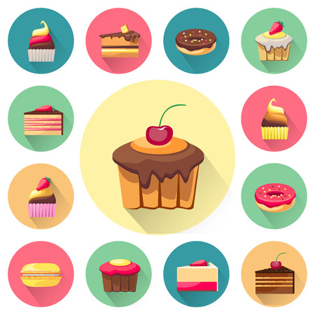 cupcakes isolated: Confectionery set of isolated cakes icons with shadows. Tasty cupcakes. Delicious snack food. Yummy realistic desserts. Every icon can be easily used separately. Fresh bakery. Vector illustration Illustration