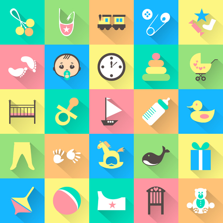teteros: Conjunto de artículos de bebé colorido con sombras. Veinticinco cosas lindas para niño pequeño. Todos los elementos pueden ser fácilmente modificable. Los niños accesorio. día de la ducha del bebé