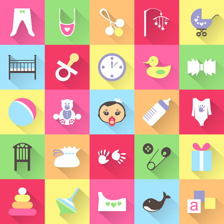nacimiento bebe: Conjunto de artículos de bebé colorido con sombras. Veinticinco cosas lindas para niño pequeño. Todos los elementos pueden ser fácilmente modificable. Los niños accesorio. día de la ducha del bebé