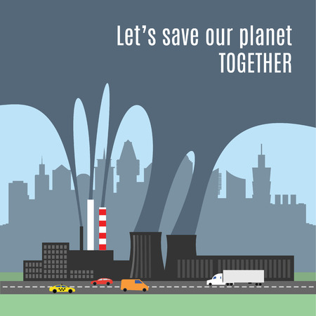 rains: A conceptual vector illustration showing the polluted smoke from a factory chimney over a city. Causes of air pollution, acid rains and green house effect. Ecological disaster. Industrial problems. Illustration