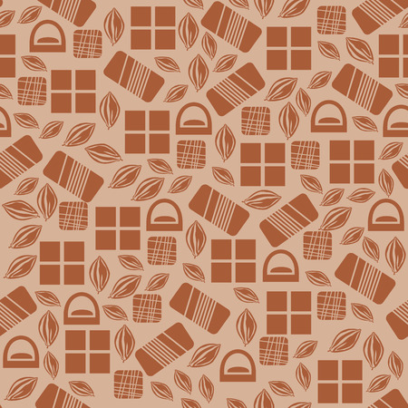 used items: Seamless pattern with chocolate sweets isolated on brown background. Assortment of chocolate items. Various tasty gourmet products. Can be used for wallpaper and wrapping paper. Mix.