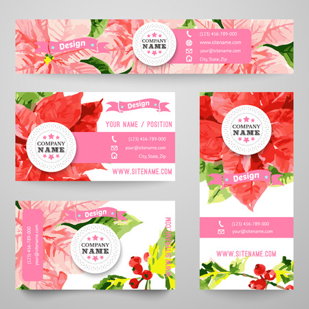 new icon: Set of corporate identity templates with beauty red and pink flowers. Vector illustration for pretty design. Border, frame, icon elements. Holiday style for Christmas and New Year card.