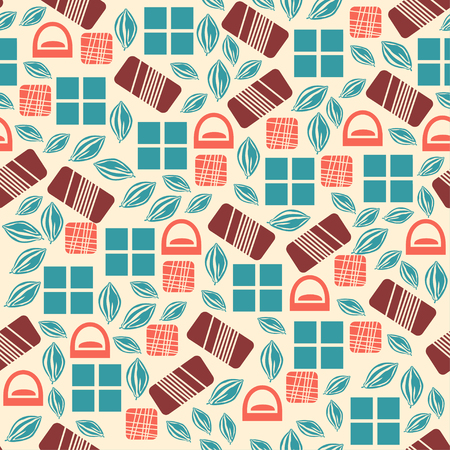 used items: Seamless pattern with chocolate sweets isolated on white background. Assortment of chocolate items. Various tasty gourmet products. Can be used for wallpaper and wrapping paper. Mix.