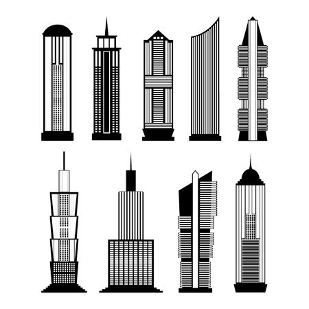 business buildings: Collection of buildings for city design. Flat style modern skyscrapers set. Vector icons of business offices isolated on white background. Architecture design. Image for presentation, banner or web site
