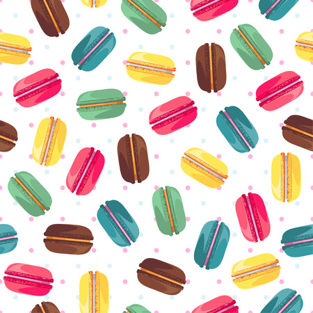 industry pattern: Seamless pattern with tasty donuts. Sweet donuts isolated on polka dot background. Delicious desserts. Fresh bakery. Can be used in food industry for wallpapers, posters, wrapping paper.