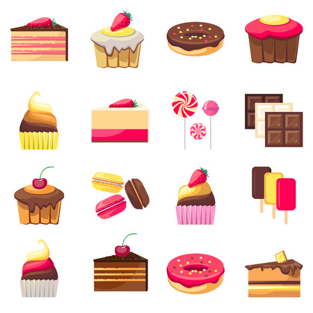 fifteen: Set of fifteen delicious desserts. Yummy cupcakes, caramel lollipops, donuts, muffins and all kinds of chocolate. Can be used for a dessert menu. Sweets with fruit. Assorted confectionery.  Illustration