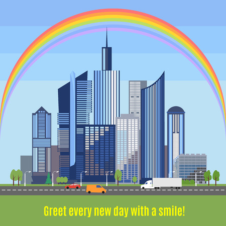 developed: Modern city with developed infrastructure. Flat style skyscrapers. Ecologically clean city with a rainbow over the buildings. Save the environment together. Protection from air pollution.  Illustration