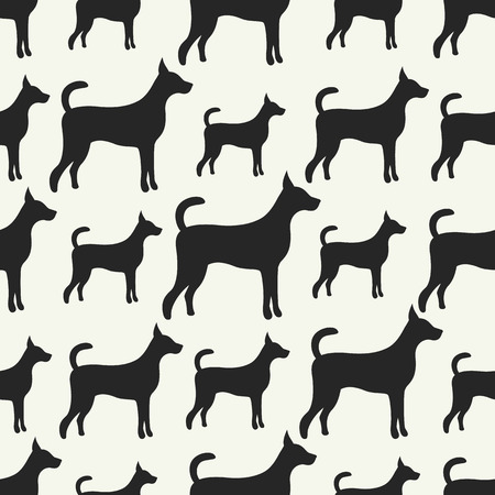 doggy: Animal seamless pattern of dog silhouettes. Endless texture can be used for printing onto fabric, web page background and paper or invitation. Doggy style. Black and white colors.