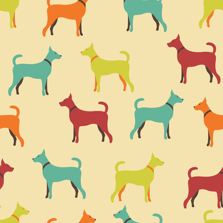 doggy: Animal seamless pattern of dog silhouettes. Endless texture can be used for printing onto fabric, web page background and paper or invitation. Doggy style. Retro colors. Stock Photo