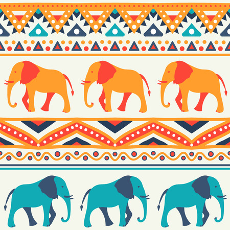 animal silhouettes: Animal seamless retro pattern of elephant silhouettes. Endless texture can be used for printing onto fabric. With doodle stripes. White, blue, red and yellow colors.