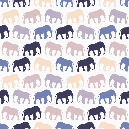 beige background: Animal seamless retro pattern of elephant silhouettes. Endless texture can be used for printing onto fabric, web page background and paper or invitation. Blue, white and beige colors.