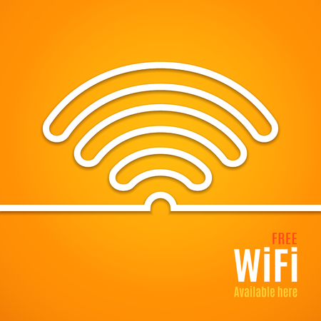 wifi: WiFi icon on orange background. illustration for podcast design. Free Wi-Fi available here. Wi Fi symbol line paper. Internet concept. Modern style. Stock Photo