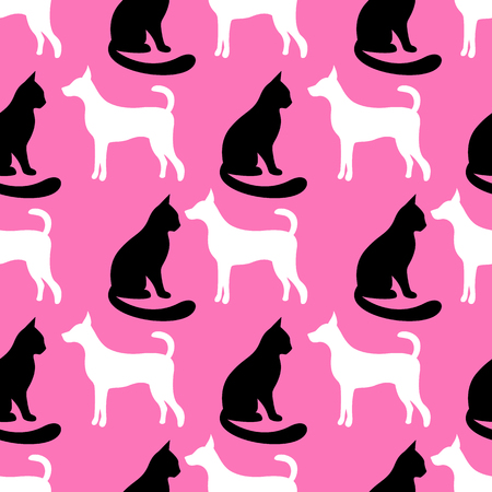 puppy and kitten: Animal seamless pattern of cat and dog silhouettes. Endless texture can be used for printing onto fabric, web page background and paper or invitation. Kitten style. Black, pink and white colors. Stock Photo