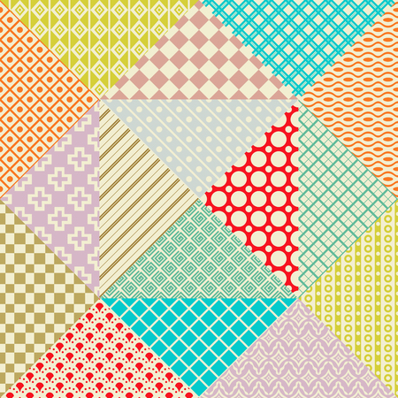 retro wallpaper: Retro patchwork. 16 seamless patterns. Endless texture can be used for wallpaper, pattern fill, web page background,surface textures. Set of monochrome geometric ornaments.
