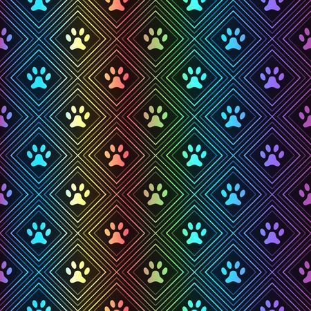grunge wallpaper: Seamless animal spectrum pattern of paw footprint in repeating rhombus on black background. Dog style. Shiny grunge wallpaper.