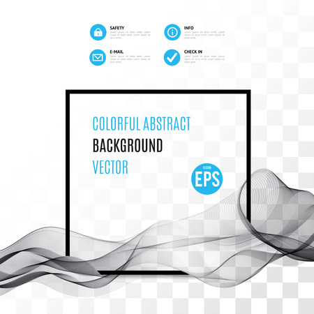 Onda astratta nero con telaio isolato su sfondo trasparente. Illustrazione di vettore per il design moderno. Presentazione, carta, flyer, brochure. Effetti speciali. elementi traslucidi. griglia di trasparenza. Vettoriali
