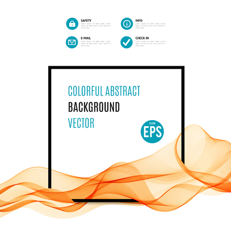 illustration and cool: Abstract orange wave with black frame isolated on white background. Vector illustration for modern business design. Cool element for presentation, card, flyer and brochure. Blue accent details.