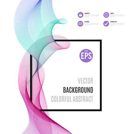Abstract colourful wave with frame isolated on white background. Vector illustration for modern business design. Cool element for presentation, card, flyer and brochure. Pink and blue colors.