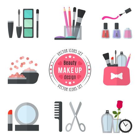 Makijaż płaskie ikony. ilustracji wektorowych dla projektu kosmetycznym. styl piękno samodzielnie na białym tle. Make-up obiektów artysty. akcesoria do makijażu dla kobiety. Żywe kolory. Ilustracje wektorowe
