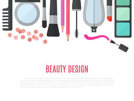 Make up concetto di illustrazione vettoriale piatto con cosmetici, trucco tavolo, specchio, pennelli make-up, profumi, smalti per unghie e pettine sono disposti in fila. Concetto di bellezza disegno isolato su sfondo bianco.