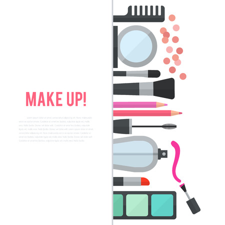 artists: Make up concept vector flat illustration with cosmetics, makeup table, mirror, make-up brushes, perfume, nail polish and comb are laid out in row. Vertical concept design isolated on white background.