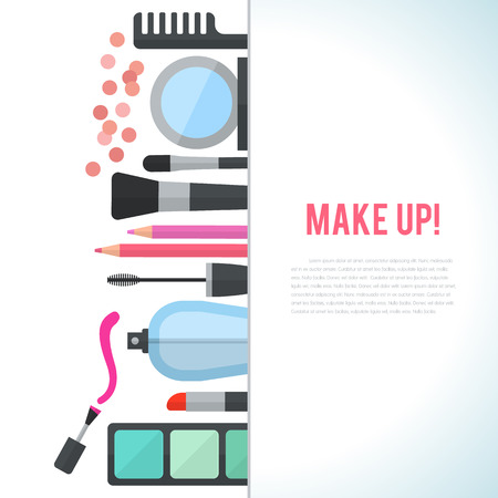 comb out: Make up concept vector flat illustration with cosmetics, makeup table, mirror, make-up brushes, perfume, nail polish and comb are laid out in row. Vertical concept design isolated on white background.
