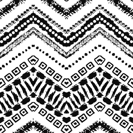 zig: Hand drawn painted seamless pattern. illustration for tribal design. Ethnic motif. Zigzag and stripe line. Black and white colors. For invitation, web, textile, wallpaper, wrapping paper.