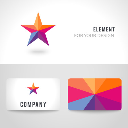 goodly: Business card template set. Bright colorful star shape in modern polygonal crystal style on white background. illustration for holiday patriotic design.