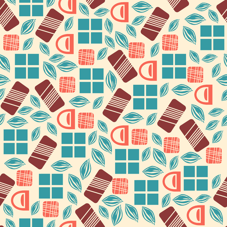 used items: Seamless pattern with chocolate sweets isolated on white background. Assortment of chocolate items. Various tasty gourmet products. Can be used for wallpaper and wrapping paper. Mix. Vector Illustration