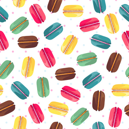 fried: Seamless pattern with tasty donuts. Sweet donuts isolated on polka dot background. Delicious desserts. Fresh bakery. Can be used in food industry for wallpapers, posters, wrapping paper. Vector