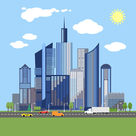 sky sun: Stylish architecture design of a modern city. Fashionable business centre with skyscrapers. Vector flat style illustration. Urban metropoliten. Image for presentation, banner, placard or web site Illustration
