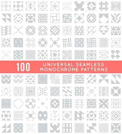 patterns vector: 100 Universal different vector seamless patterns. Endless texture can be used for wallpaper, pattern fills, web page background,surface textures. Set of monochrome geometric ornaments.