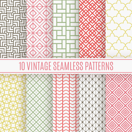 10 Vintage different vector seamless patterns. Endless texture for wallpaper, fill, web page background, surface texture. Set of monochrome geometric ornament. Shabby colors.