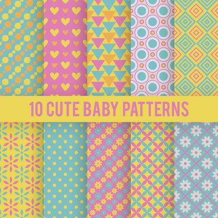 10 Retro Baby vector naadloze patronen. Endless textuur voor de achtergrond, vullen, webpagina achtergrond, oppervlaktestructuur. Set van heldere geometrische versiering. Rood, oranje en blauw shabby kleuren.