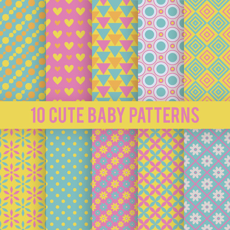 10 Retro baby vector seamless patterns. Endless texture for wallpaper, fill, web page background, surface texture. Set of bright geometric ornament. Red, orange and blue shabby colors. Illustration