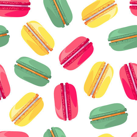 industry pattern: Seamless pattern with tasty donuts. Sweet donuts isolated on polka dot background. Delicious macaroon desserts. Fresh bakery. Can be used in food industry for wallpapers, posters, wrapping paper. Vector